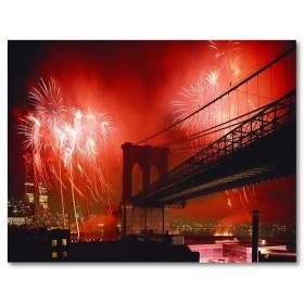 Αφίσα (Νέα Υόρκη, πόλη, Μπρούκλιν, γέφυρα, fireworks)